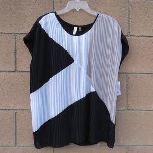 NY Collection Color Block Top Plus Size 1X